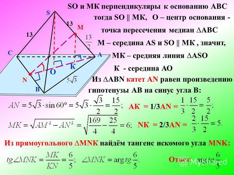 А В С S О К SO и МК перпендикуляры к основанию АВС тогда SO || МК, М – середина AS и SO || МК, значит, МК – средняя линия ASO М N 13 О – центр основания - точка пересечения медиан AВС К - середина АО Из AВN катет AN равен произведению гипотенузы АВ н