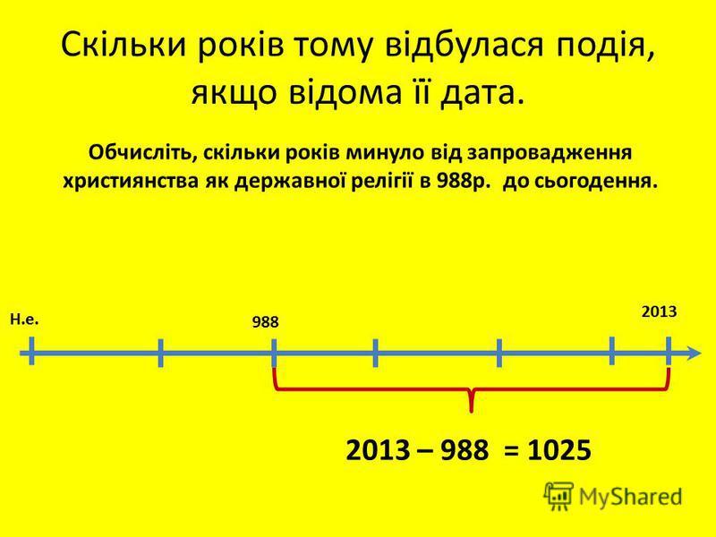 Скільки років тому відбулася подія, якщо відома її дата. 2013 988 Обчисліть, скільки років минуло від запровадження християнства як державної релігії в 988р. до сьогодення. Н.е. 2013 – 988 = 1025