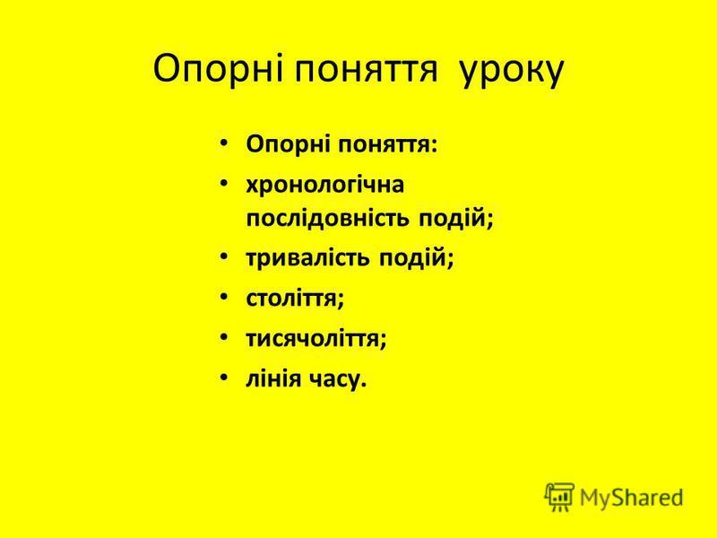 Опорні поняття уроку Опорні поняття: хронологічна послідовність подій; тривалість подій; століття; тисячоліття; лінія часу.