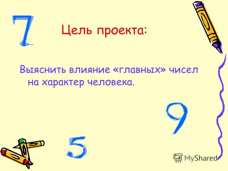Цель проекта: Выяснить влияние «главных» чисел на характер человека.
