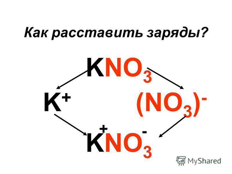 Как расставить заряды? KNO 3 (NO 3 ) - K+K+ KNO 3 - +