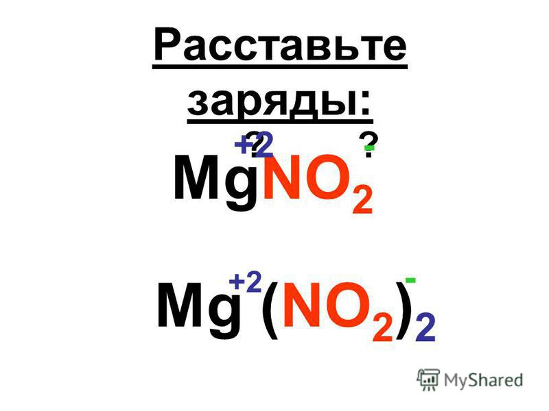 Расставьте заряды: MgNO 2 ??-+2 Mg (NO 2 ) 2 - +2