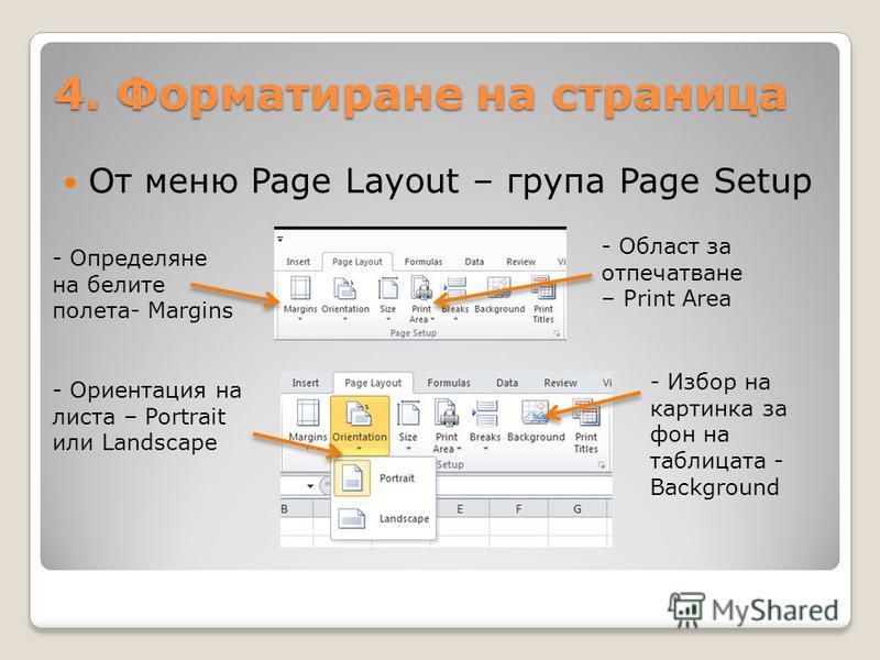 4. Форматиране на страница От меню Page Layout – група Page Setup - Определяне на белите полета- Margins - Ориентация на листа – Portrait или Landscape - Област за отпечатване – Print Area - Избор на картинка за фон на таблицата - Background
