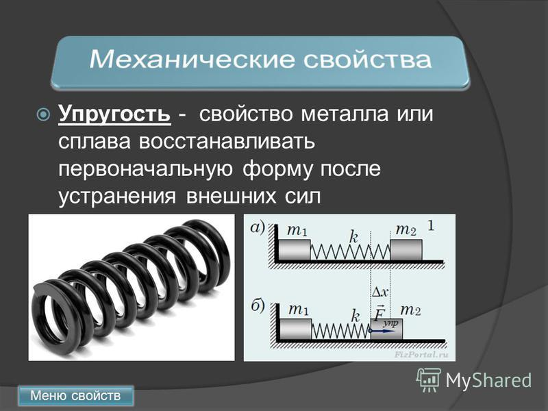 Упругость - свойство металла или сплава восстанавливать первоначальную форму после устранения внешних сил Меню свойств
