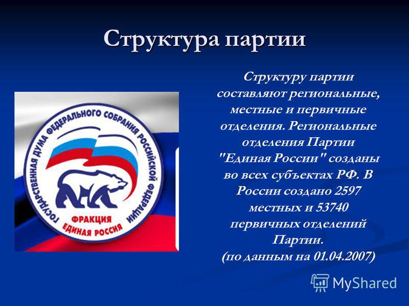 Структура партии Структуру партии составляют региональные, местные и первичные отделения. Региональные отделения Партии