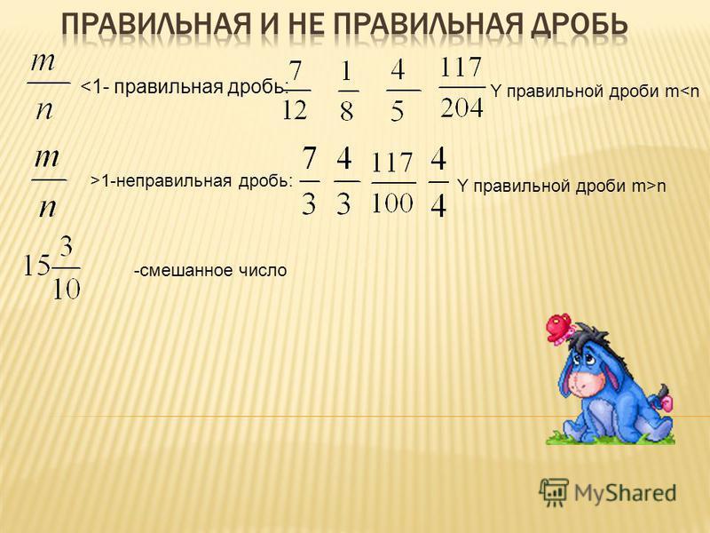 <1- правильная дробь: Y правильной дроби m<n >1-неправильная дробь: Y правильной дроби m>n -смешанное число