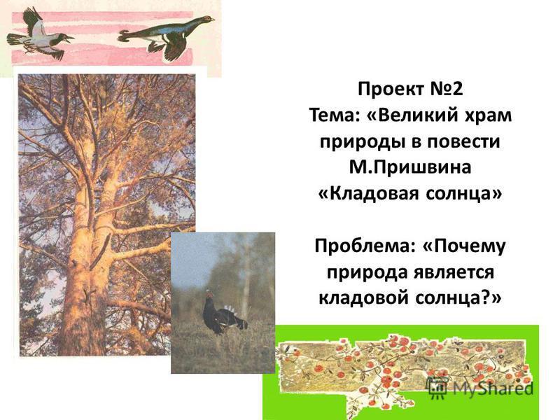 Проект 2 Тема: «Великий храм природы в повести М.Пришвина «Кладовая солнца» Проблема: «Почему природа является кладовой солнца?»