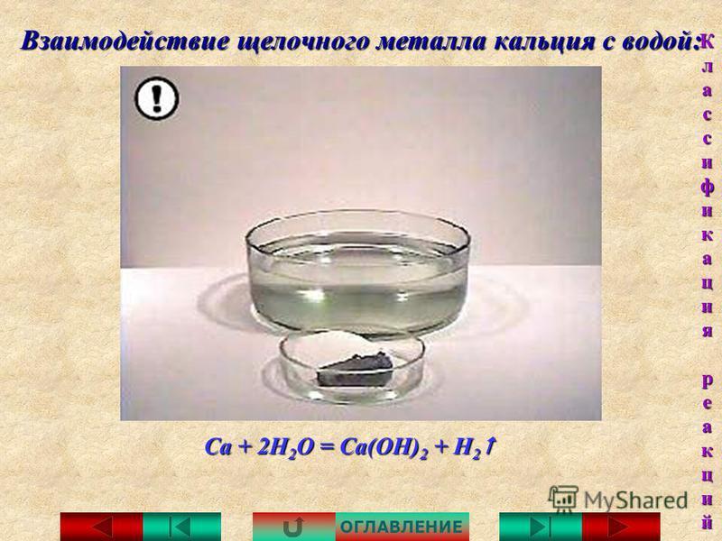 Взаимодействие щелочного металла натрия с водой: 2Na + 2H 2 O = 2NaOH + H 2 2Na + 2H 2 O = 2NaOH + H 2 ОГЛАВЛЕНИЕ Классификация Классификация реакций реакций Классификация Классификация реакций реакций