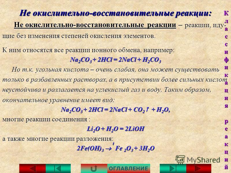 Окислительно-восстановительная реакция: горение магния Сложные окислительно-восстановительные реакции составляются с помощью метода электронного баланса ОГЛАВЛЕНИЕ 0 0 +2 -2 2Мg + O 2 = 2MgO Классификация Классификация реакций реакций Классификация К