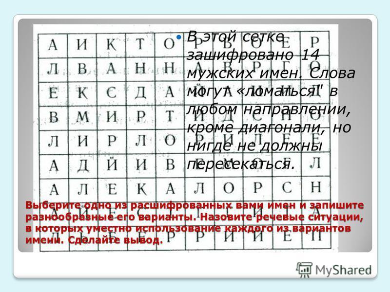 В этой сетке зашифровано 14 мужских имен. Слова могут «ломаться