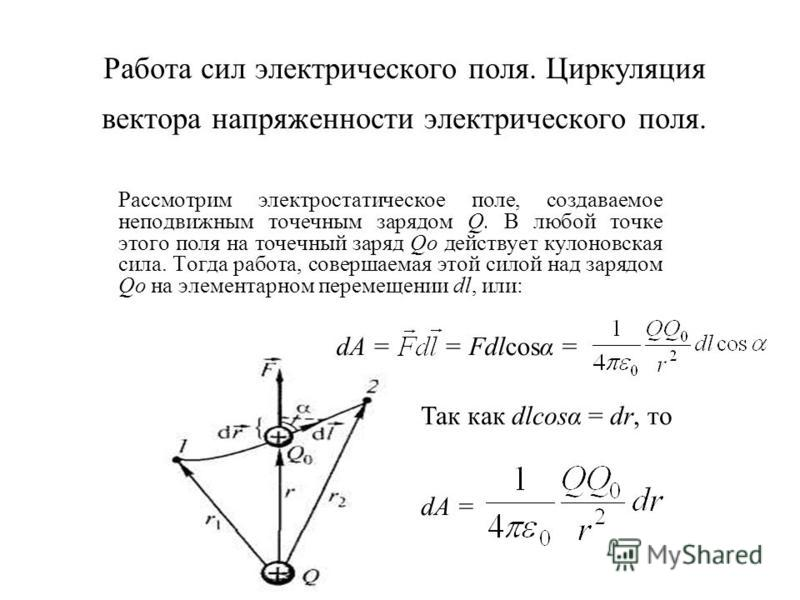 Работа сил электрического поля. Циркуляция вектора напряженности электрического поля. Рассмотрим электростатическое поле, создаваемое неподвижным точечным зарядом Q. В любой точке этого поля на точечный заряд Qo действует кулоновская сила. Тогда рабо