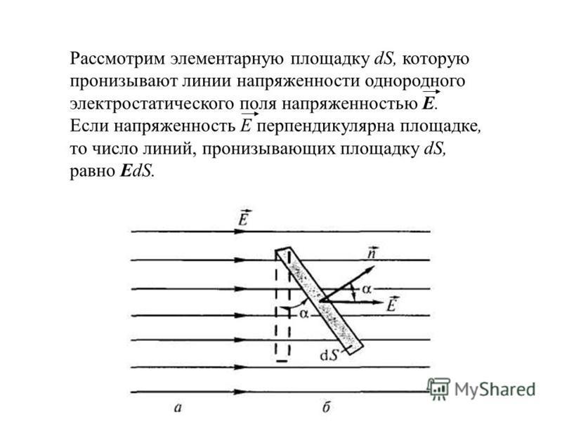 Рассмотрим элементарную площадку dS, которую пронизывают линии напряженности однородного электростатического поля напряженностью E. Если напряженность Е перпендикулярна площадке, то число линий, пронизывающих площадку dS, равно EdS.