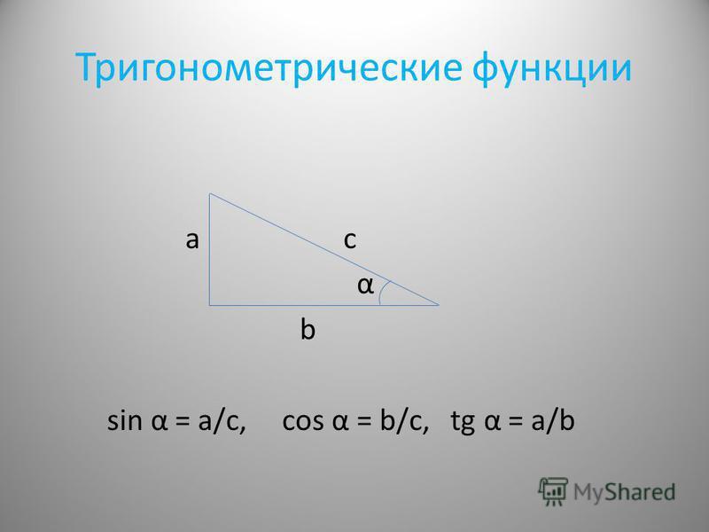 Тригонометрические функции а c α b sin α = a/с, cos α = b/с, tg α = a/b