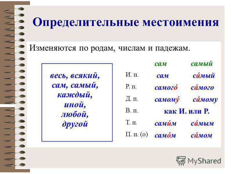 Определительные местоимения Изменяются по родам, числам и падежам. сам самый весь, всякий, сам, самый, каждый, иной, любой, другой И. п. сам самый Р. п. самогóсáмого Д. п. самому самому В. п. как И. или Р. Т. п. самúмсáмым П. п. (о) самóмсáмом