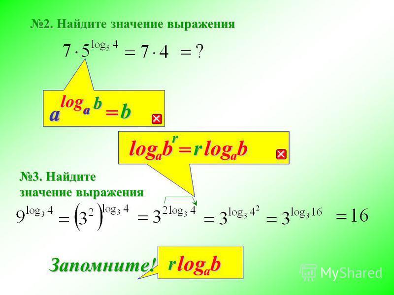 b aloga =b ba a rb a log =rbalogrbalog Запомните! 2. Найдите значение выражения 3. Найдите значение выражения