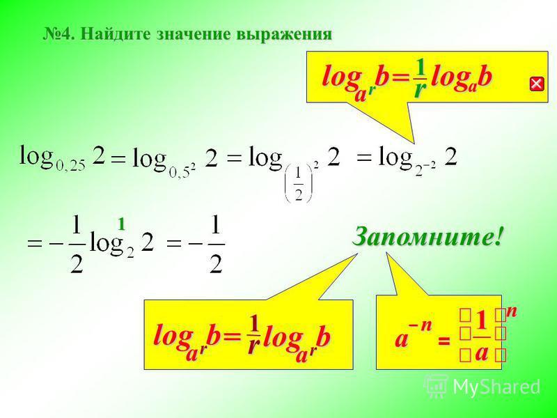 b 4. Найдите значение выражения r b a log = r b a log1r a log Запомните! = n a 1 na – r1 rbalog= 1