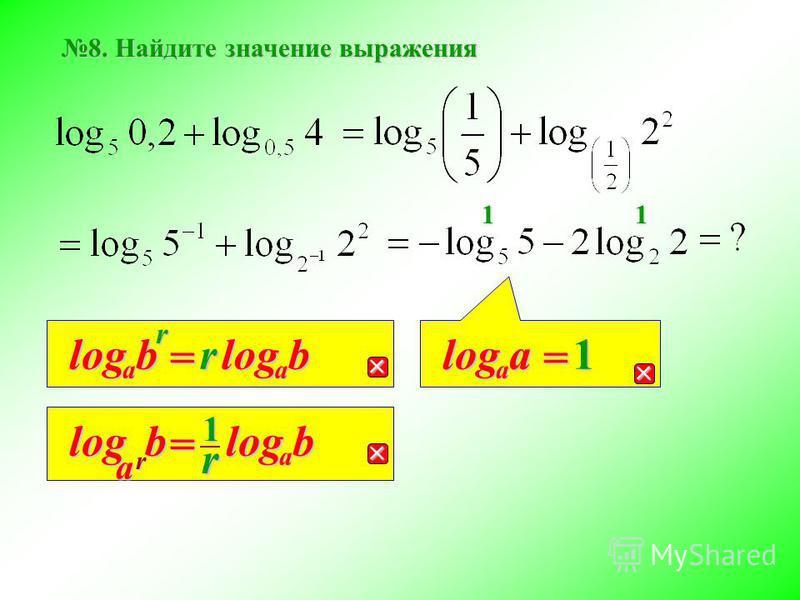 8. Найдите значение выражения rb a log = rb a log r b a log = r b a log1 a a log = 1 11
