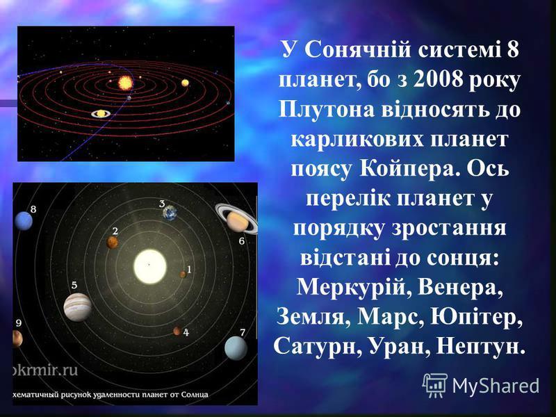 У Сонячній системі 8 планет, бо з 2008 року Плутона відносять до карликових планет поясу Койпера. Ось перелік планет у порядку зростання відстані до сонця: Меркурій, Венера, Земля, Марс, Юпітер, Сатурн, Уран, Нептун.