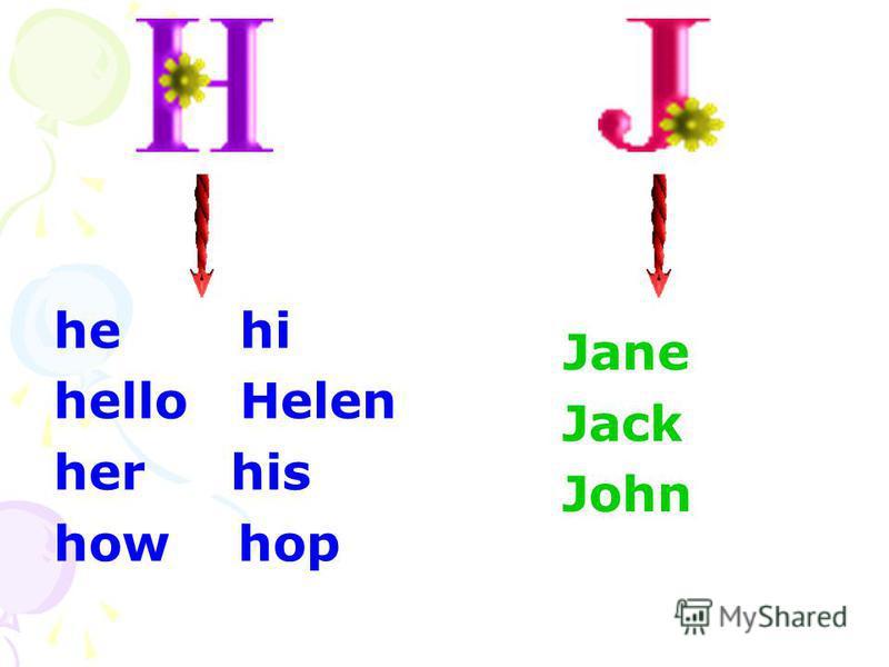 he hi hello Helen her his how hop Jane Jack John