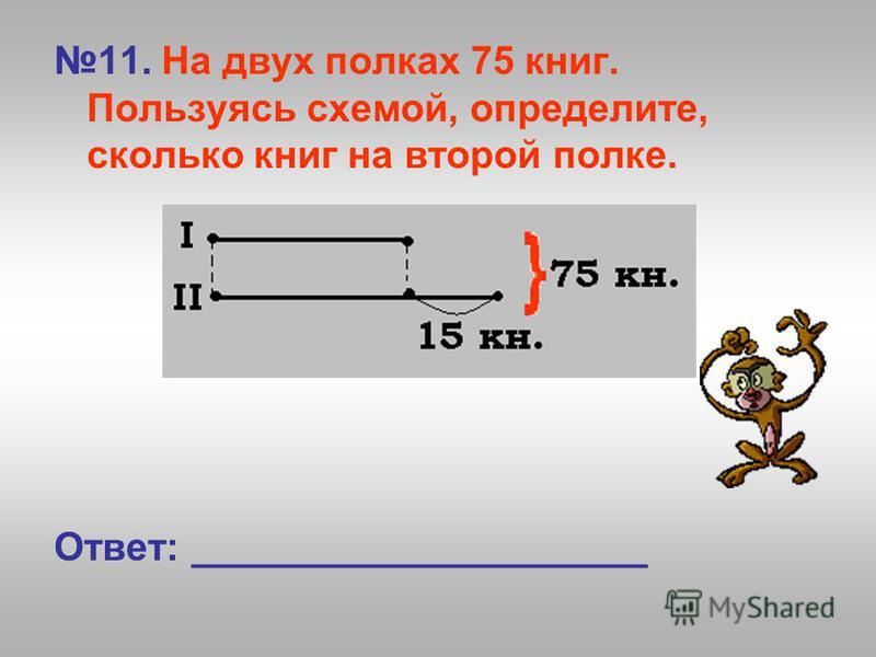 11. На двух полках 75 книг. Пользуясь схемой, определите, сколько книг на второй полке. Ответ: _____________________