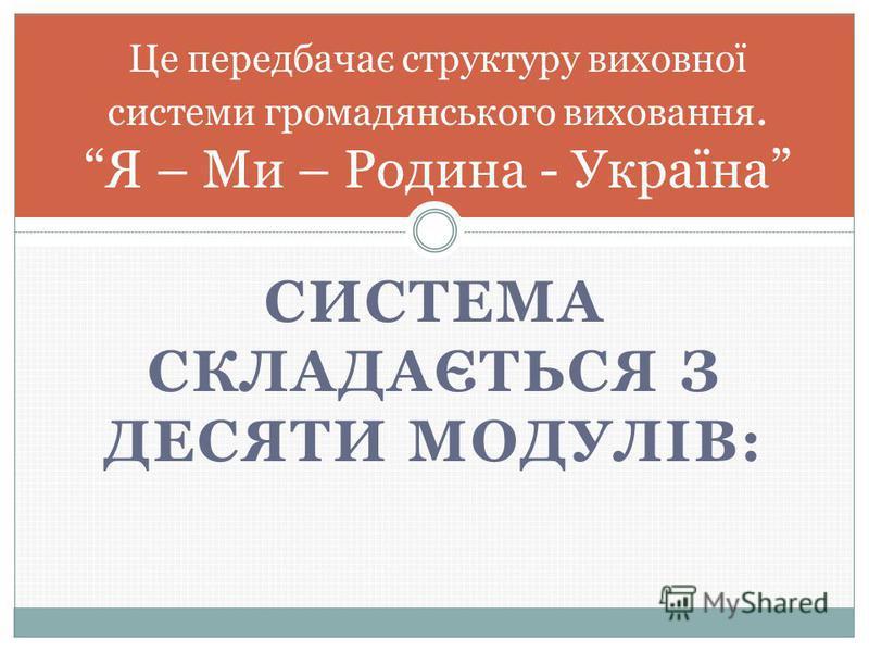 СИСТЕМА СКЛАДАЄТЬСЯ З ДЕСЯТИ МОДУЛІВ: Це передбачає структуру виховної системи громадянського виховання. Я – Ми – Родина - Україна