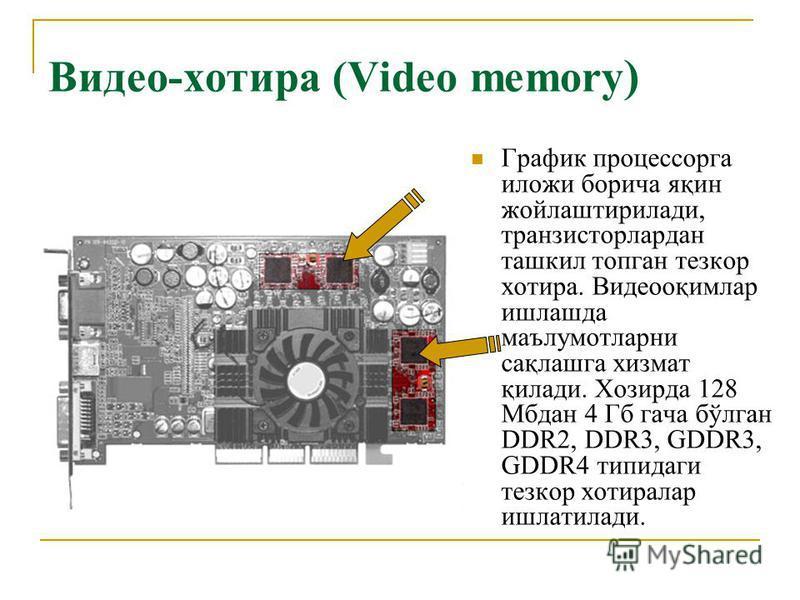 Видео-хотира (Video memory ) График процессорга иложи борича яқин жойлаштирилади, транзисторлардан ташкил топган тезкор хотира. Видеооқимлар ишлашда маълумотларни сақлашга хизмат қилади. Хозирда 128 Мбдан 4 Гб гача бўлган DDR2, DDR3, GDDR3, GDDR4 тип