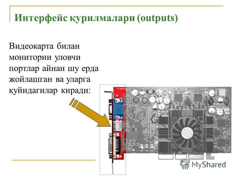 Интерфейс қурилмалари (outputs) Видеокарта билан мониторни уловчи портлар айнан шу ерда жойлашган ва уларга қуйидагилар киради: