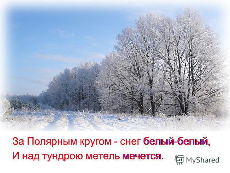 За Полярным кругом - снег белый-белый, За Полярным кругом - снег белый-белый, И над тундрою метель мечется. И над тундрою метель мечется.