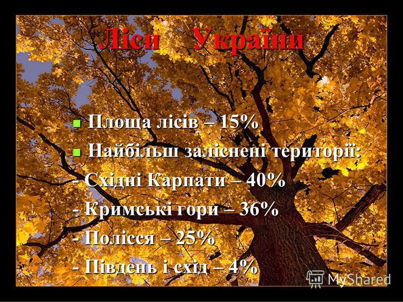 Ліси України Площа лісів – 15% Площа лісів – 15% Найбільш заліснені території: Найбільш заліснені території: - Східні Карпати – 40% - Кримські гори – 36% - Полісся – 25% - Південь і схід – 4%