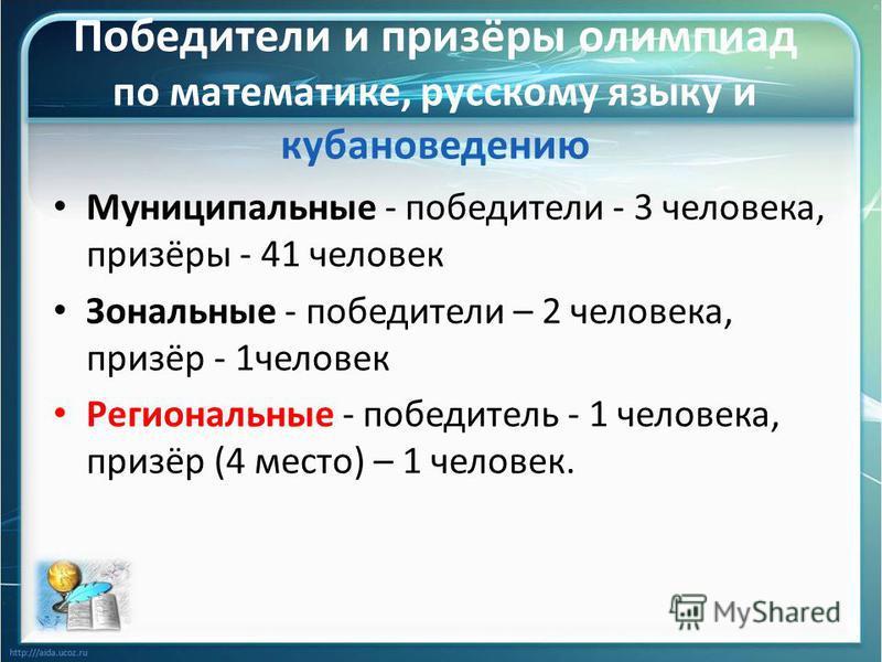 Победители и призёры олимпиад по математике, русскому языку и кубановедению Муниципальные - победители - 3 человека, призёры - 41 человек Зональные - победители – 2 человека, призёр - 1 человек Региональные - победитель - 1 человека, призёр (4 место)