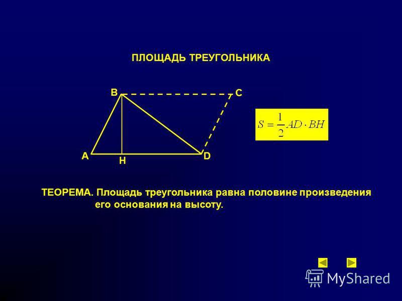 ПЛОЩАДЬ ТРЕУГОЛЬНИКА ТЕОРЕМА. Площадь треугольника равна половине произведения его основания на высоту. B A H D C