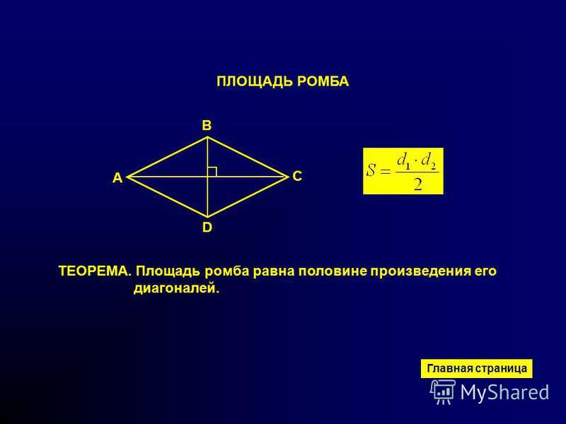 ПЛОЩАДЬ РОМБА ТЕОРЕМА. Площадь ромба равна половине произведения его диагоналей. B A D C Главная страница