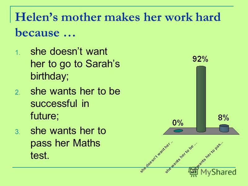 Helens mother makes her work hard because … 1. she doesnt want her to go to Sarahs birthday; 2. she wants her to be successful in future; 3. she wants her to pass her Maths test.