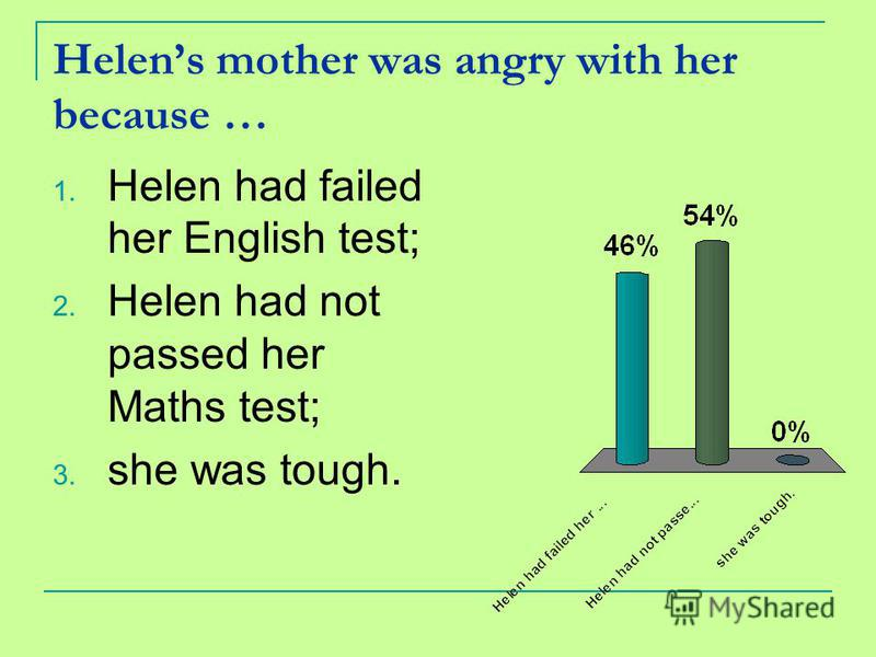 Helens mother was angry with her because … 1. Helen had failed her English test; 2. Helen had not passed her Maths test; 3. she was tough.