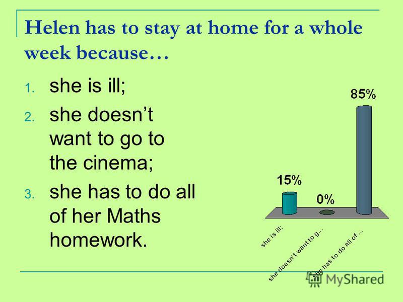 Helen has to stay at home for a whole week because… 1. she is ill; 2. she doesnt want to go to the cinema; 3. she has to do all of her Maths homework.
