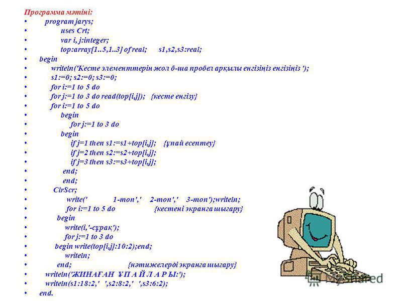 Программа мәтіні: program jarys; uses Crt; var i, j:integer; top:array[1..5,1..3] of real; s1,s2,s3:real; begin writeln('Кесте элементтерін жол б-ша пробел арқылы енгізіңіз енгізіңіз '); s1:=0; s2:=0; s3:=0; for i:=1 to 5 do for j:=1 to 3 do read(top
