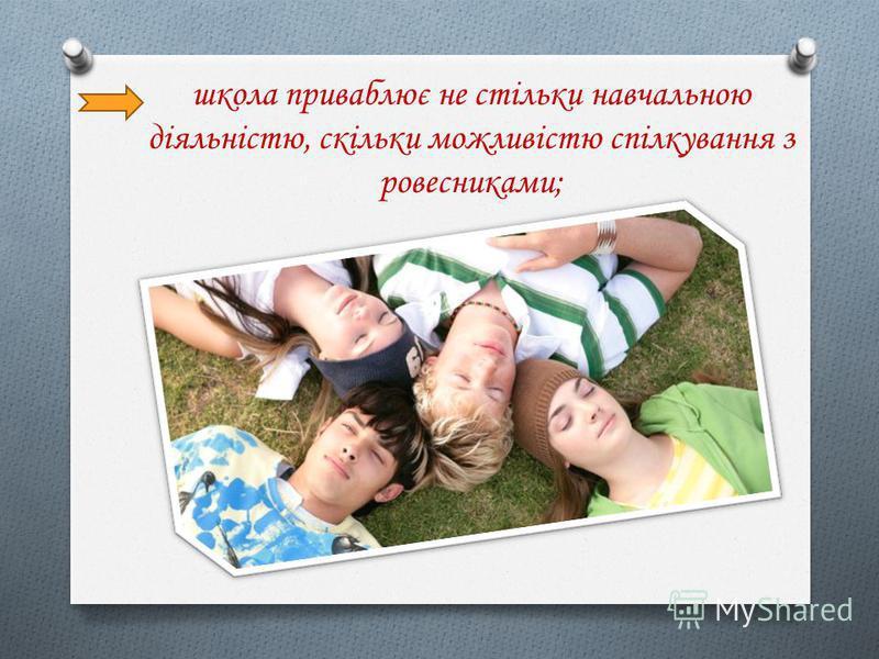 школа приваблює не стільки навчальною діяльністю, скільки можливістю спілкування з ровесниками;