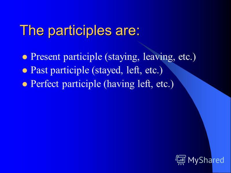 Participle (причастие) Форма глагола, которая является промежуточной между прилагательным и наречием с одной стороны и глаголом с другой