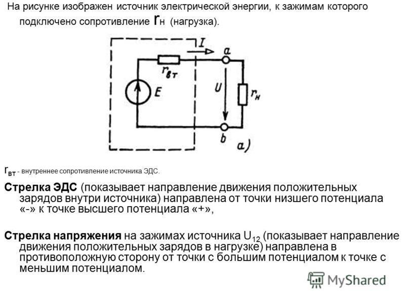 На рисунке изображен источник электрической энергии, к зажимам которого подключено сопротивление r н (нагрузка). r вт - внутреннее сопротивление источника ЭДС. Стрелка ЭДС (показывает направление движения положительных зарядов внутри источника) напра