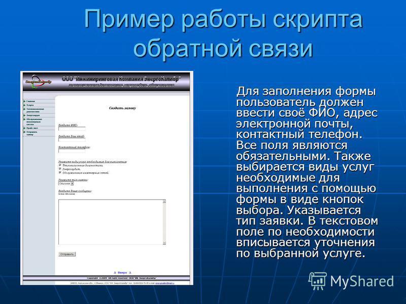 Пример работы скрипта обратной связи Для заполнения формы пользователь должен ввести своё ФИО, адрес электронной почты, контактный телефон. Все поля являются обязательными. Также выбирается виды услуг необходимые для выполнения с помощью формы в виде