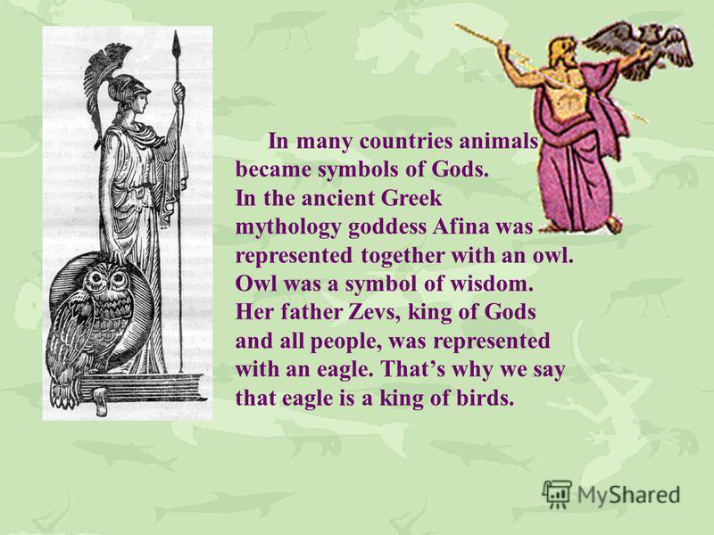 In many countries animals became symbols of Gods. In the ancient Greek mythology goddess Afina was represented together with an owl. Owl was a symbol of wisdom. Her father Zevs, king of Gods and all people, was represented with an eagle. Thats why we