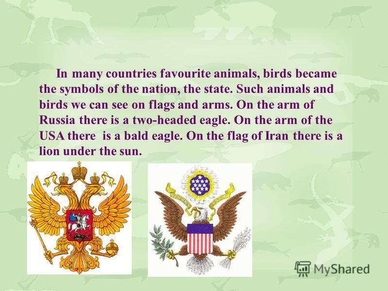 In many countries favourite animals, birds became the symbols of the nation, the state. Such animals and birds we can see on flags and arms. On the arm of Russia there is a two-headed eagle. On the arm of the USA there is a bald eagle. On the flag of