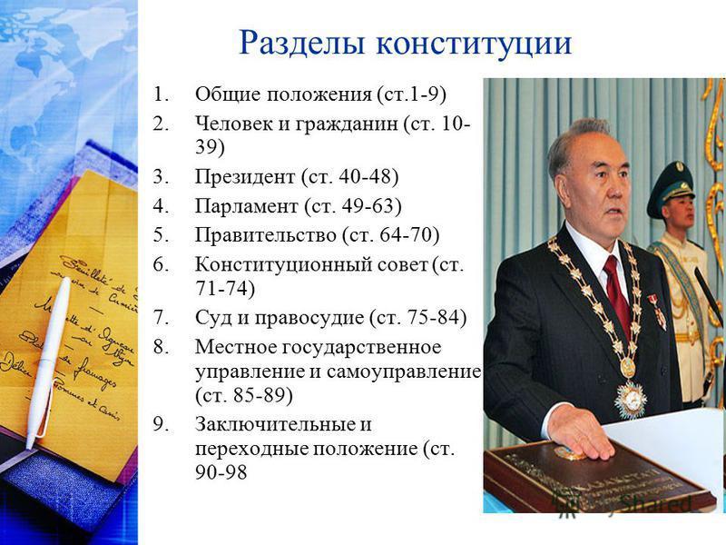 Разделы конституции 1. Общие положения (ст.1-9) 2. Человек и гражданин (ст. 10- 39) 3. Президент (ст. 40-48) 4. Парламент (ст. 49-63) 5. Правительство (ст. 64-70) 6. Конституционный совет (ст. 71-74) 7. Суд и правосудие (ст. 75-84) 8. Местное государ
