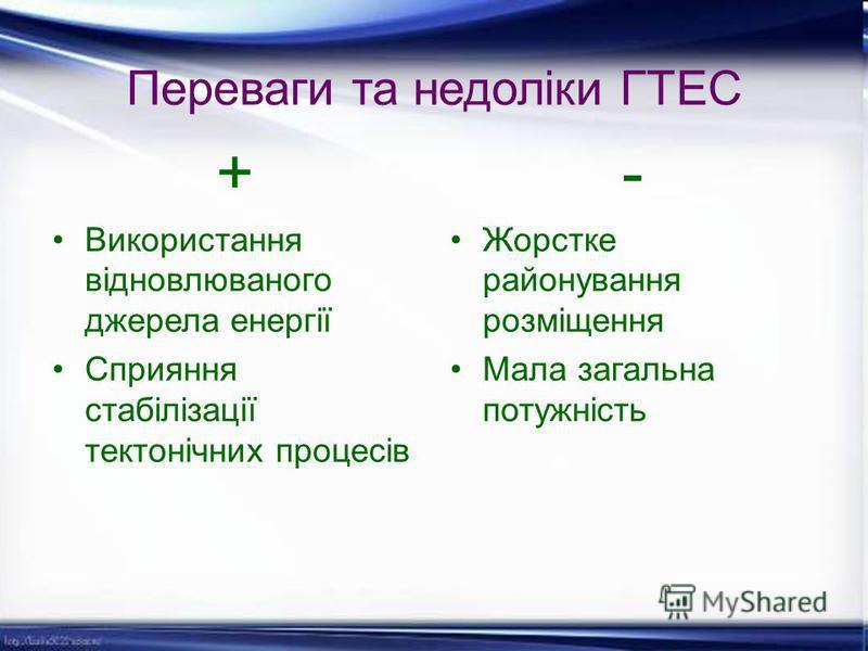 Переваги та недоліки ГТЕС + Використання відновлюваного джерела енергії Сприяння стабілізації тектонічних процесів - Жорстке районування розміщення Мала загальна потужність