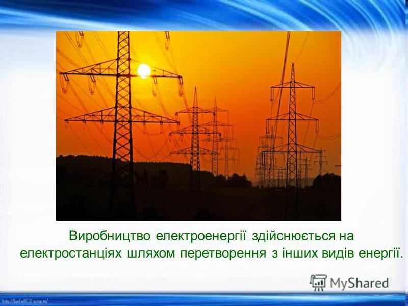 Виробництво електроенергії здійснюється на електростанціях шляхом перетворення з інших видів енергії.