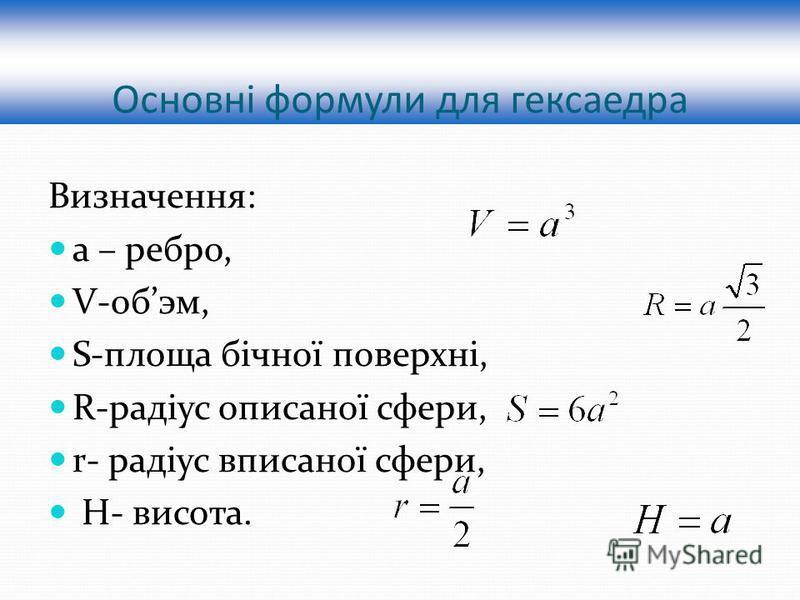 Основні формули для гексаедра Визначення: а – ребро, V-обэм, S-площа бічної поверхні, R-радіус описаної сфери, r- радіус вписаної сфери, H- висота.