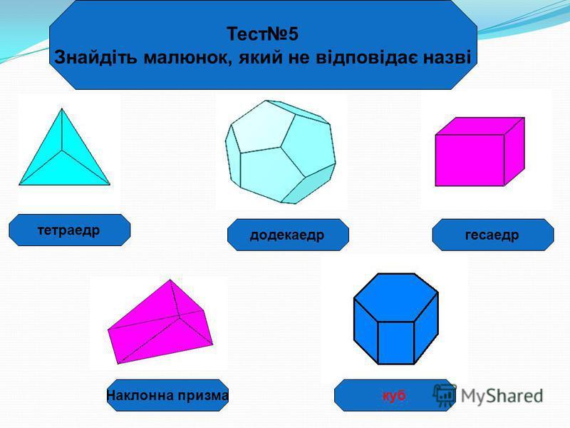 гесаедр Тест5 Знайдіть малюнок, який не відповідає назві додекаедр тетраедр Наклонна призмакуб