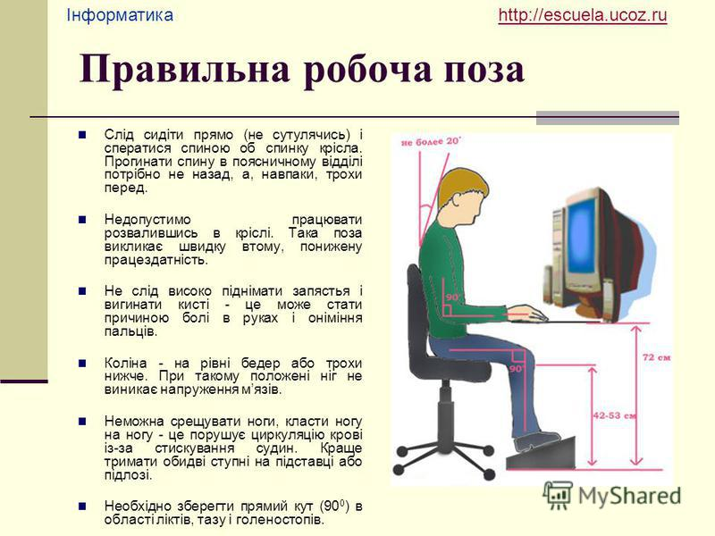 Інформатика http://escuela.ucoz.ruhttp://escuela.ucoz.ru Правильна робоча поза Слід сидіти прямо (не сутулячись) і сператися спиною об спинку крісла. Прогинати спину в поясничному відділі потрібно не назад, а, навпаки, трохи перед. Недопустимо працюв