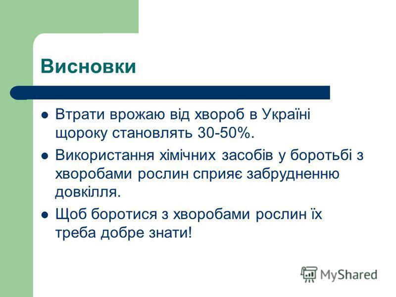 Висновки Втрати врожаю від хвороб в Україні щороку становлять 30-50%. Використання хімічних засобів у боротьбі з хворобами рослин сприяє забрудненню довкілля. Щоб боротися з хворобами рослин їх треба добре знати!
