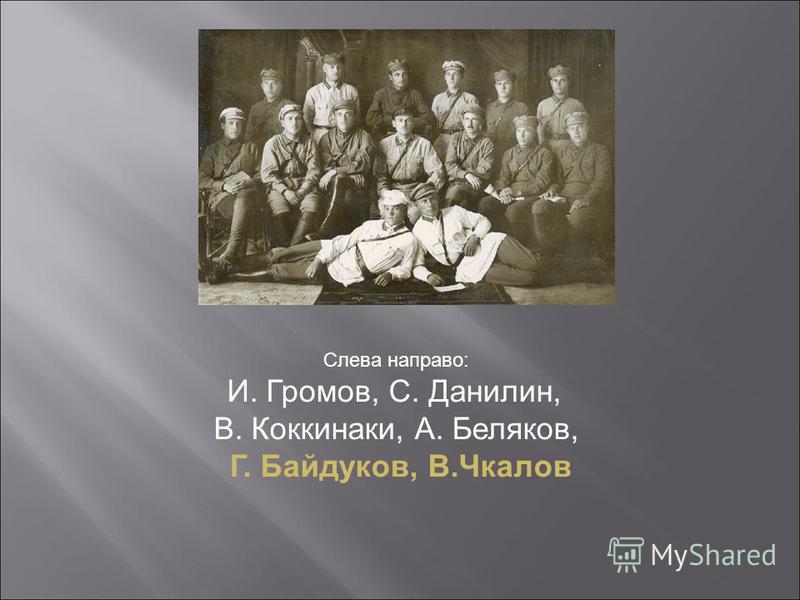 Слева направо: И. Громов, С. Данилин, В. Коккинаки, А. Беляков, Г. Байдуков, В.Чкалов